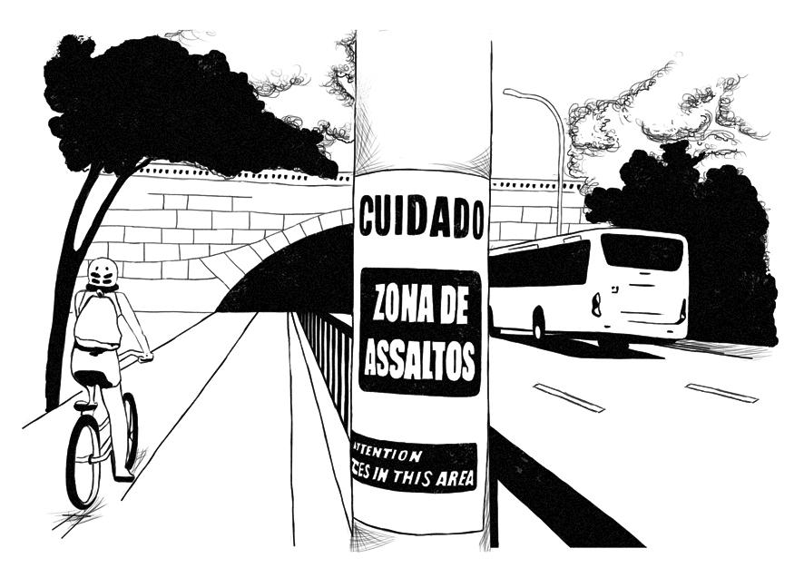 Cartaz sobre assaltos colado no poste - ilustração de Nina Ferrari