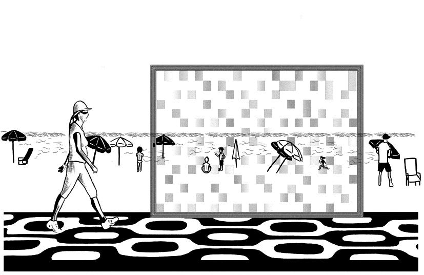 Simulação da instalação na praia - ilustração de Nina Ferrari